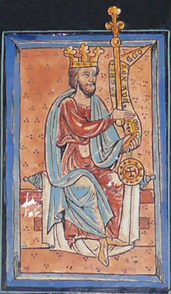 Alfonso V según una miniatura medieval de la Catedral de León.