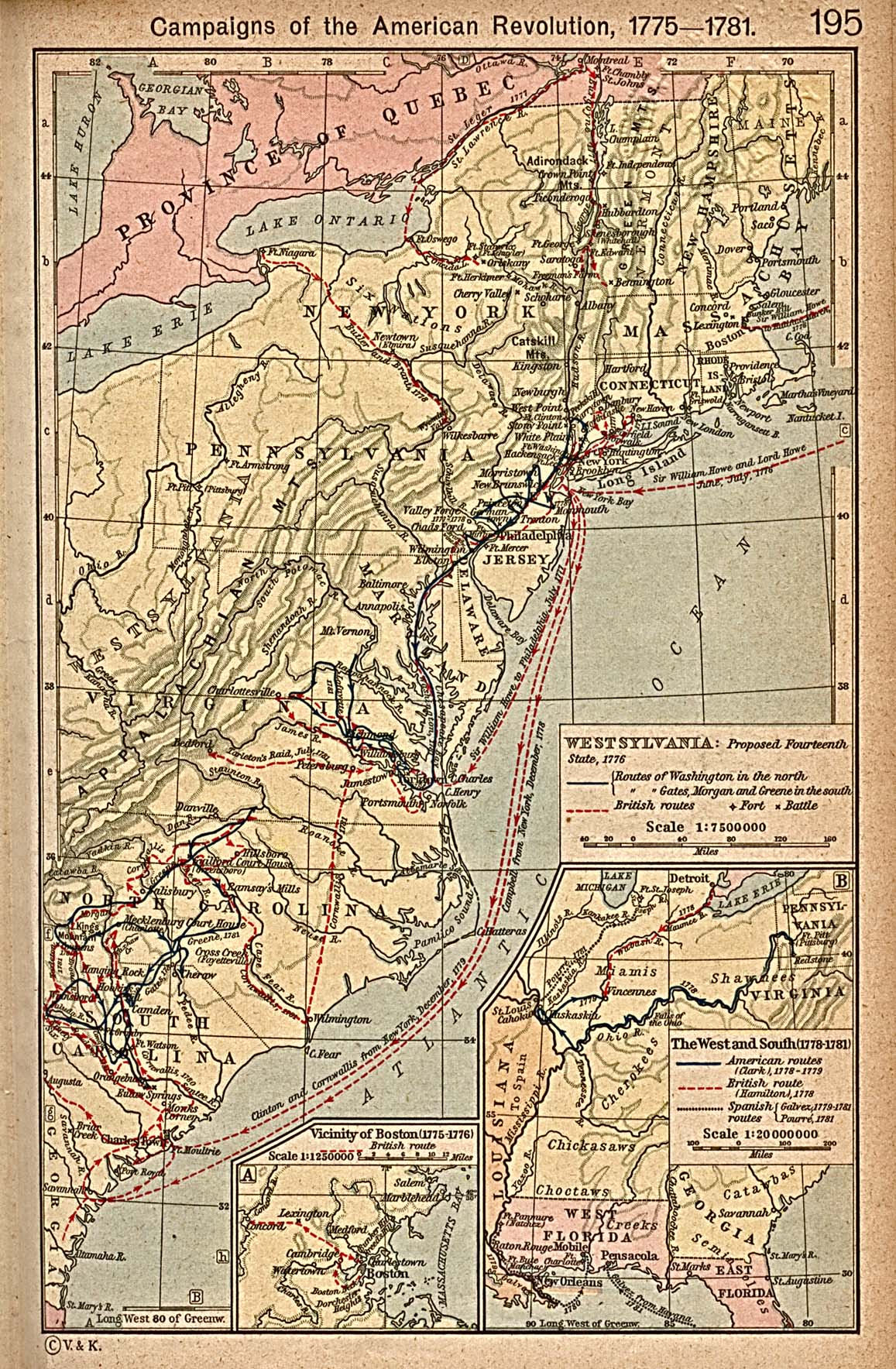 Map of campaigns of the American War for Independence