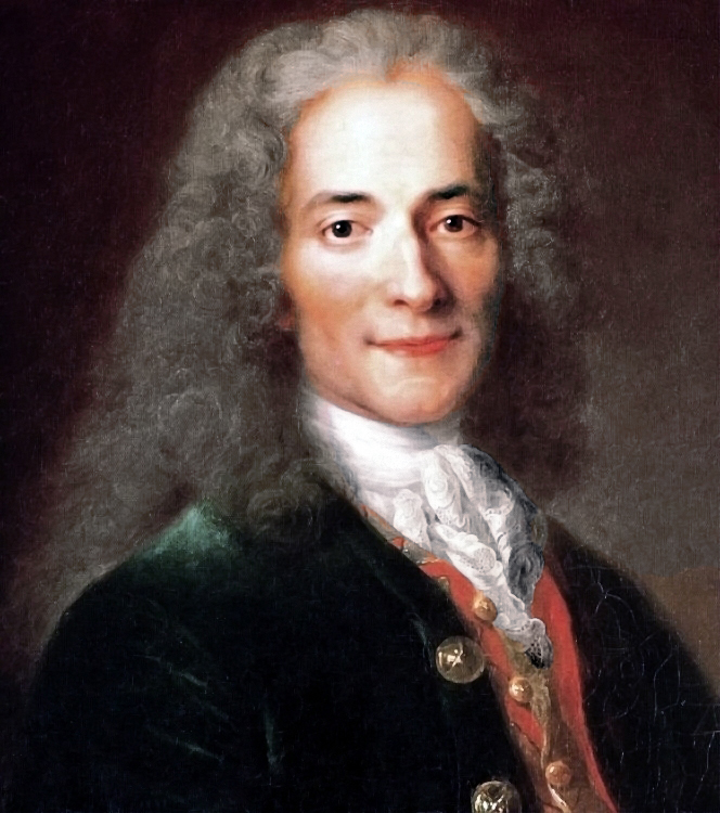 """Voltaire (1694-1778). """"Voltaire at the age of twenty-four years old, a fragment."""" Workshop of Nicolas de Larzhiler (1656-1746)."""