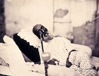 Bahadur Shah Zafar (the last Mughal emperor) in Delhi, awaiting trial by the British for his role in the Uprising. Photograph by Robert Tytler and Charles Shepherd, May 1858 Bahadur Shah Zafar.jpg