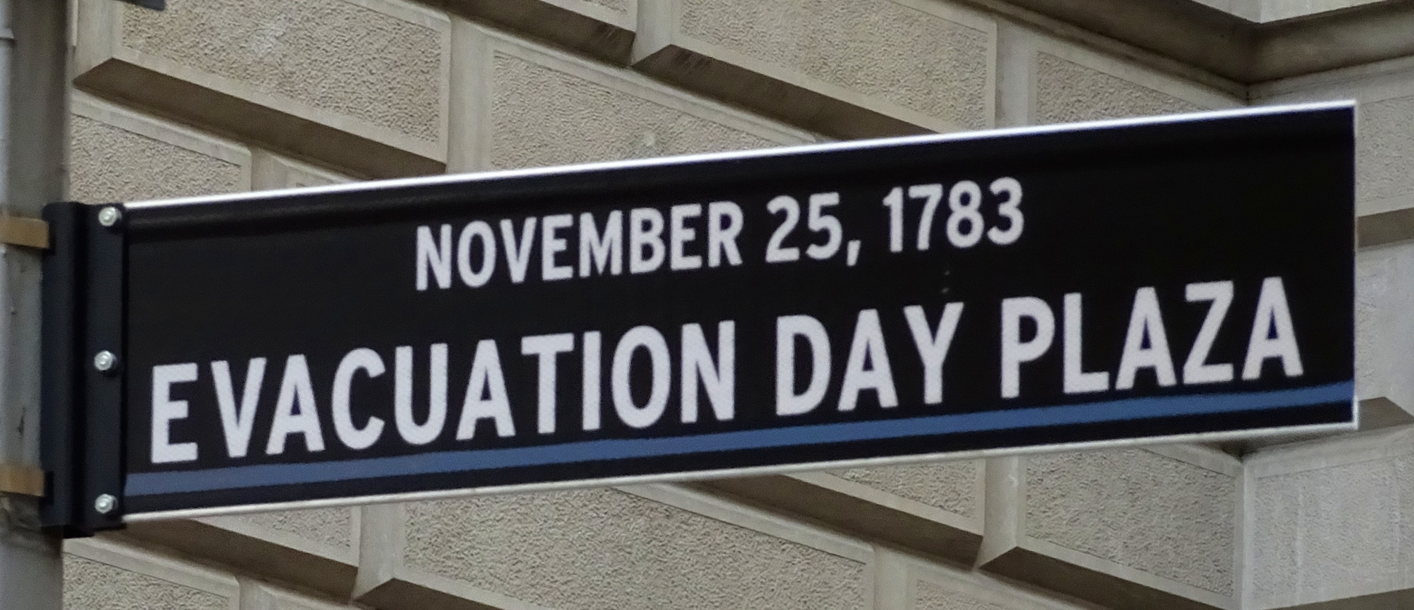 Evacuation Day Plaza street sign