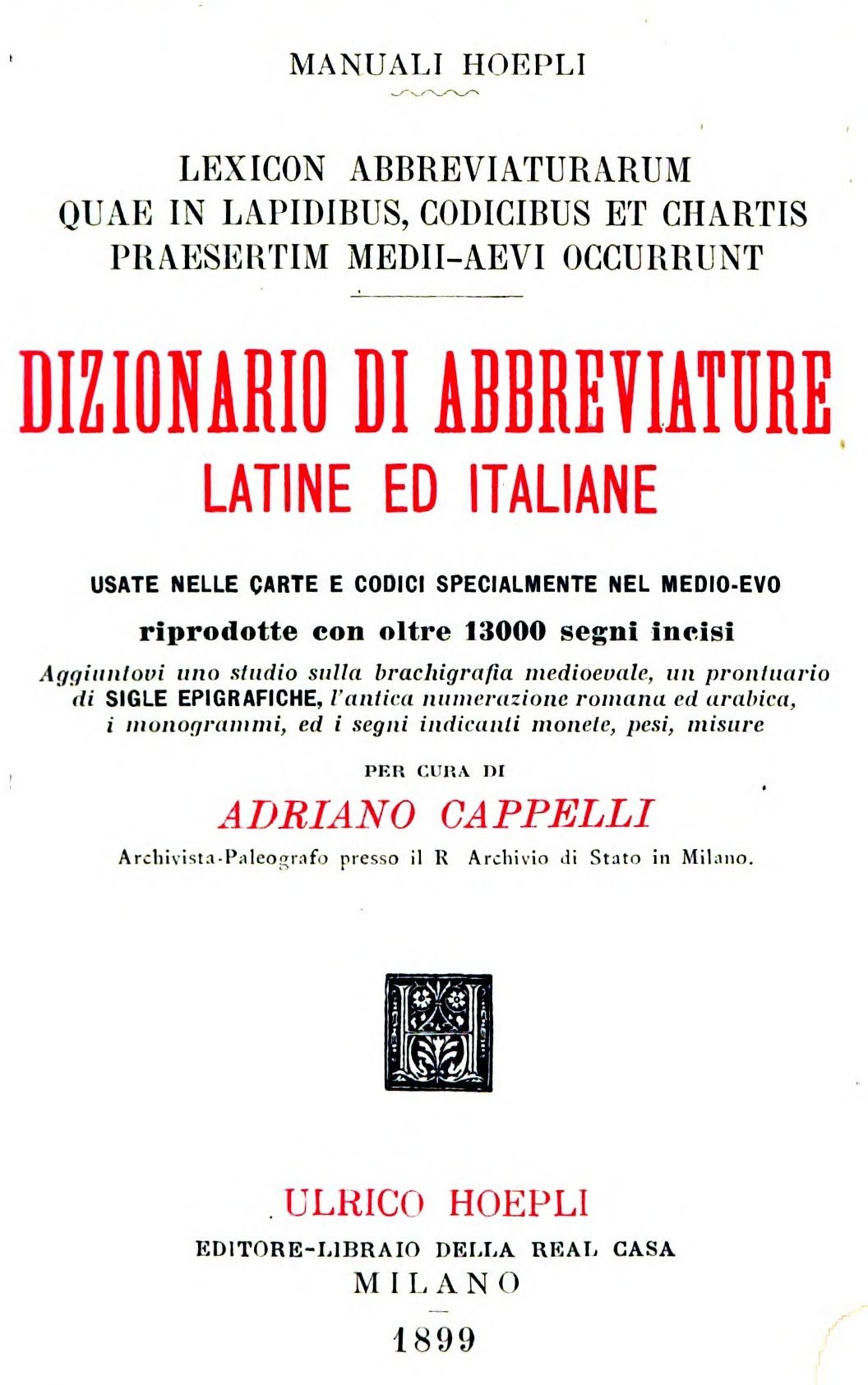 outlet in vendita servizio duraturo servizio duraturo File:Cappelli, Lexicon abbreviaturarum 1899.jpg - Wikipedia