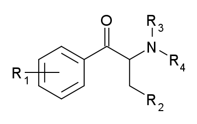 The ring substiutions for cathinone
