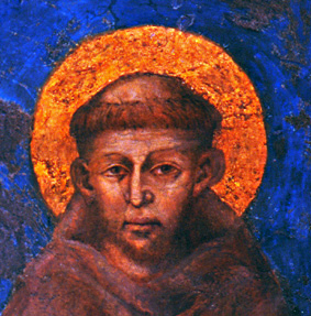 A portrait depicting Saint Francis of Assisi by the Italian artist Cimabue (1240-1302) Cimabue Saint Francis Fragment.jpg