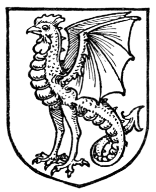An image of a cockatrice as it appears in heraldry. The cockatrice has the body of a serpent, and the head and legs of a rooster.