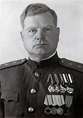 Lieutenant General Dmitry Kozlov commanded the Crimean Front during the battle Crimean Front commander Lt Gen Dmitry Kozlov.jpg