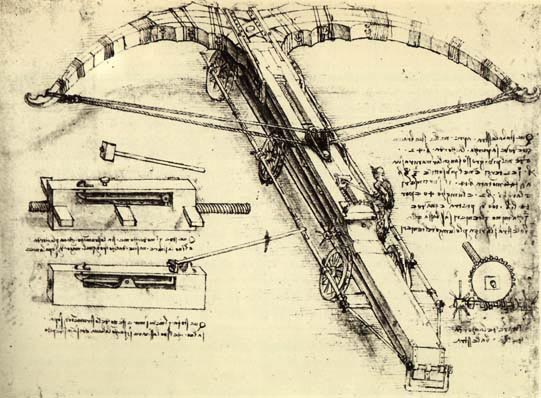 Crossbow design, sketched by Leonardo da Vinci