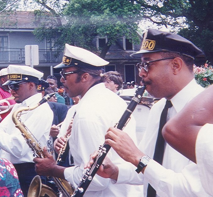 Dr Michael White (front right) plays clarinet at a jazz funeral in Treme, New Orleans, Louisiana.