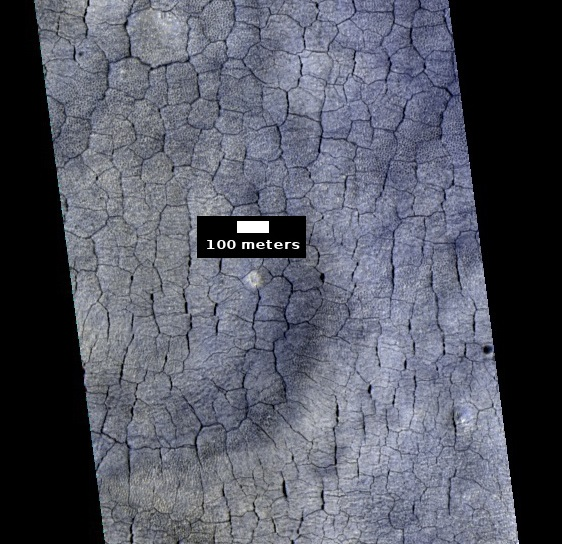 Color view of polygonal ground, as seen by HiRISE under HiWish program