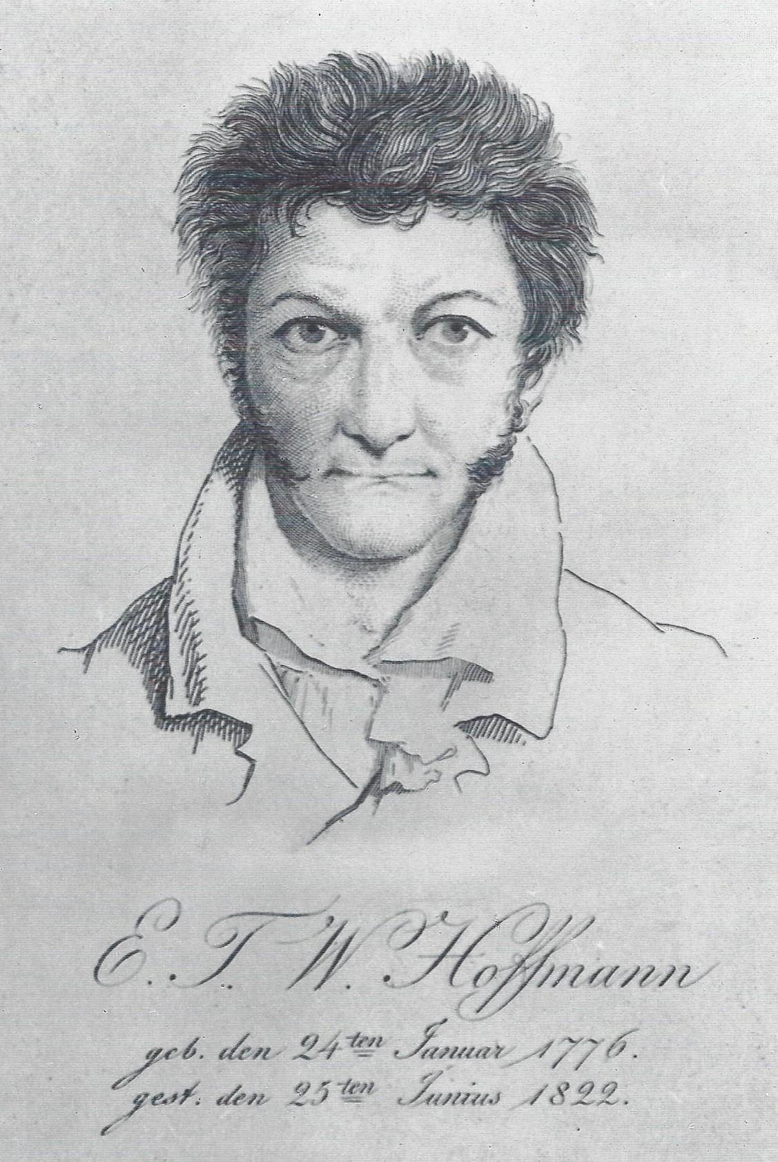 Autoportrait d'Hoffmann: dessin en noir et blanc. L'auteur est représenté de face, les cheveux ébouriffés et le visage fermé.