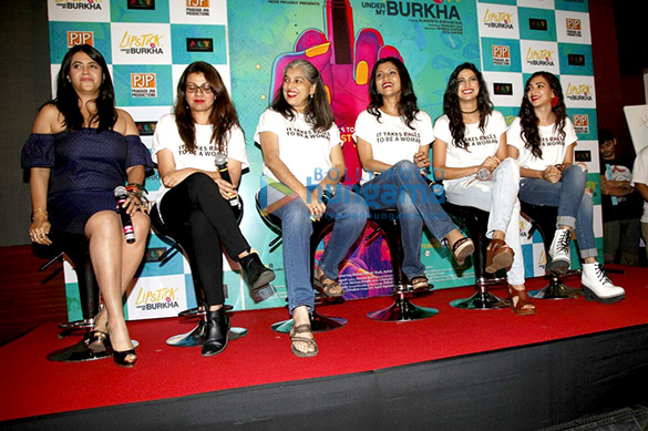 File:Ekta Kapoor, Alankrita Shrivastava, Ratna Pathak, Konkona Sen Sharma, Aahana Kumrah & Plabita Borthakur at media meet of the film Lipstick Under My Burkha (05).jpg