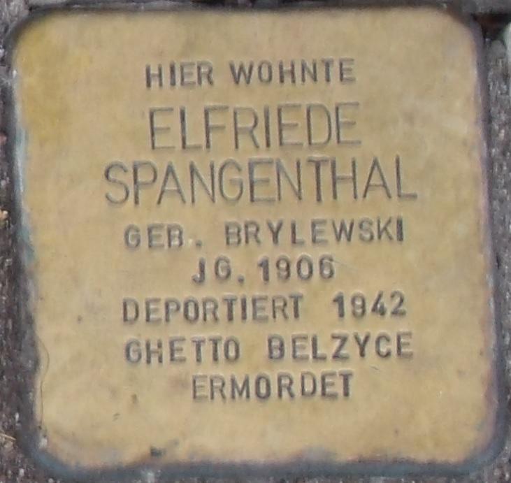 Elfriede Spangenthal Stolperstein in Eisenach.jpg