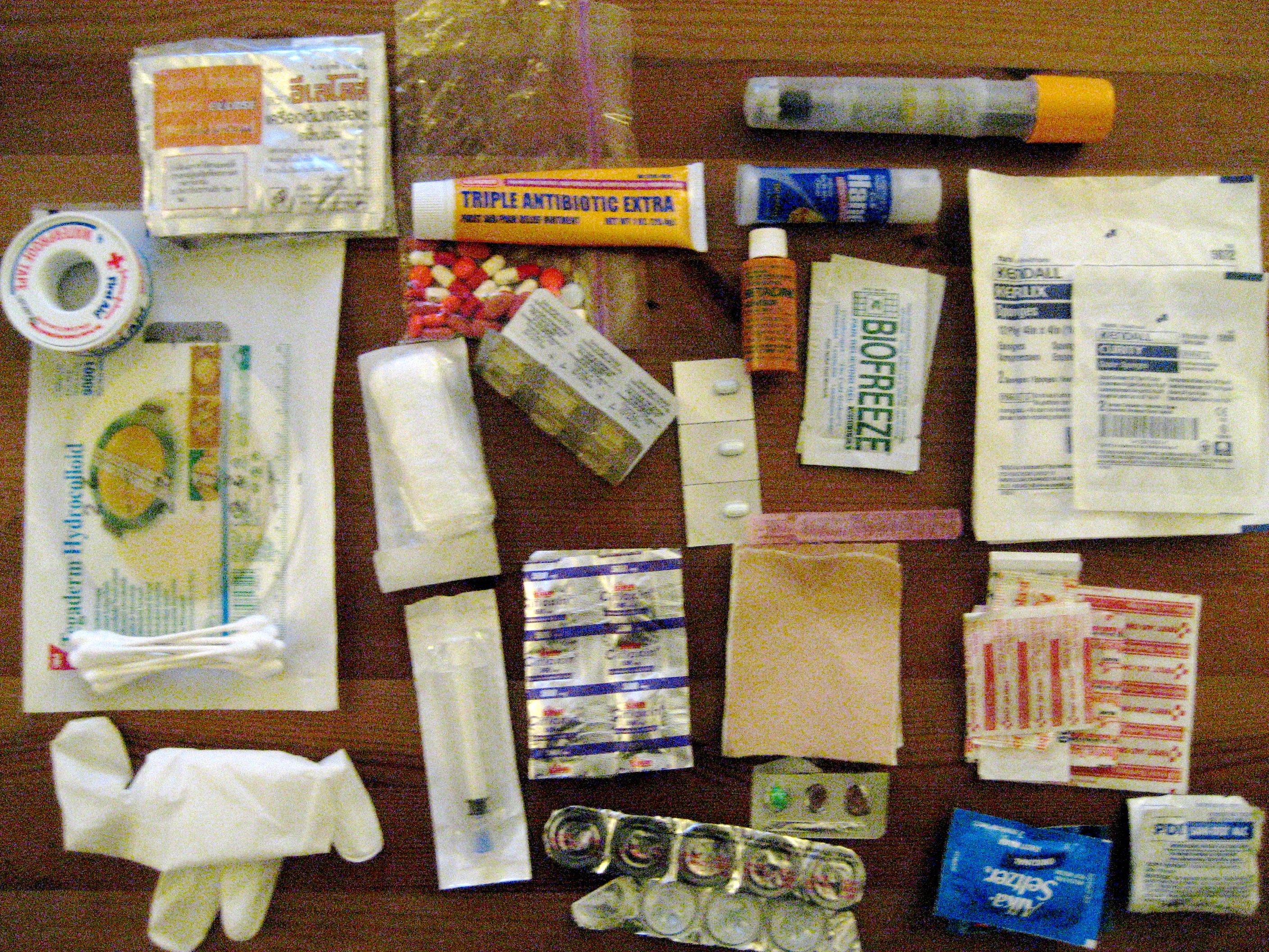First aid kit for a trip to rural Nicaragua.