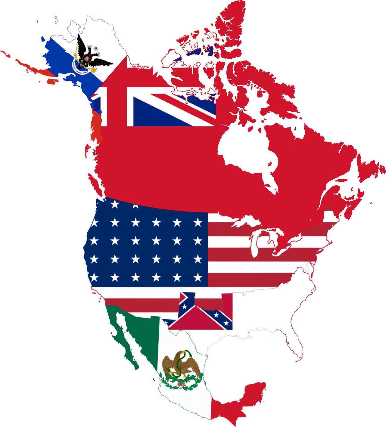 FileFlag Map North America Png Wikimedia Commons - Us flag map