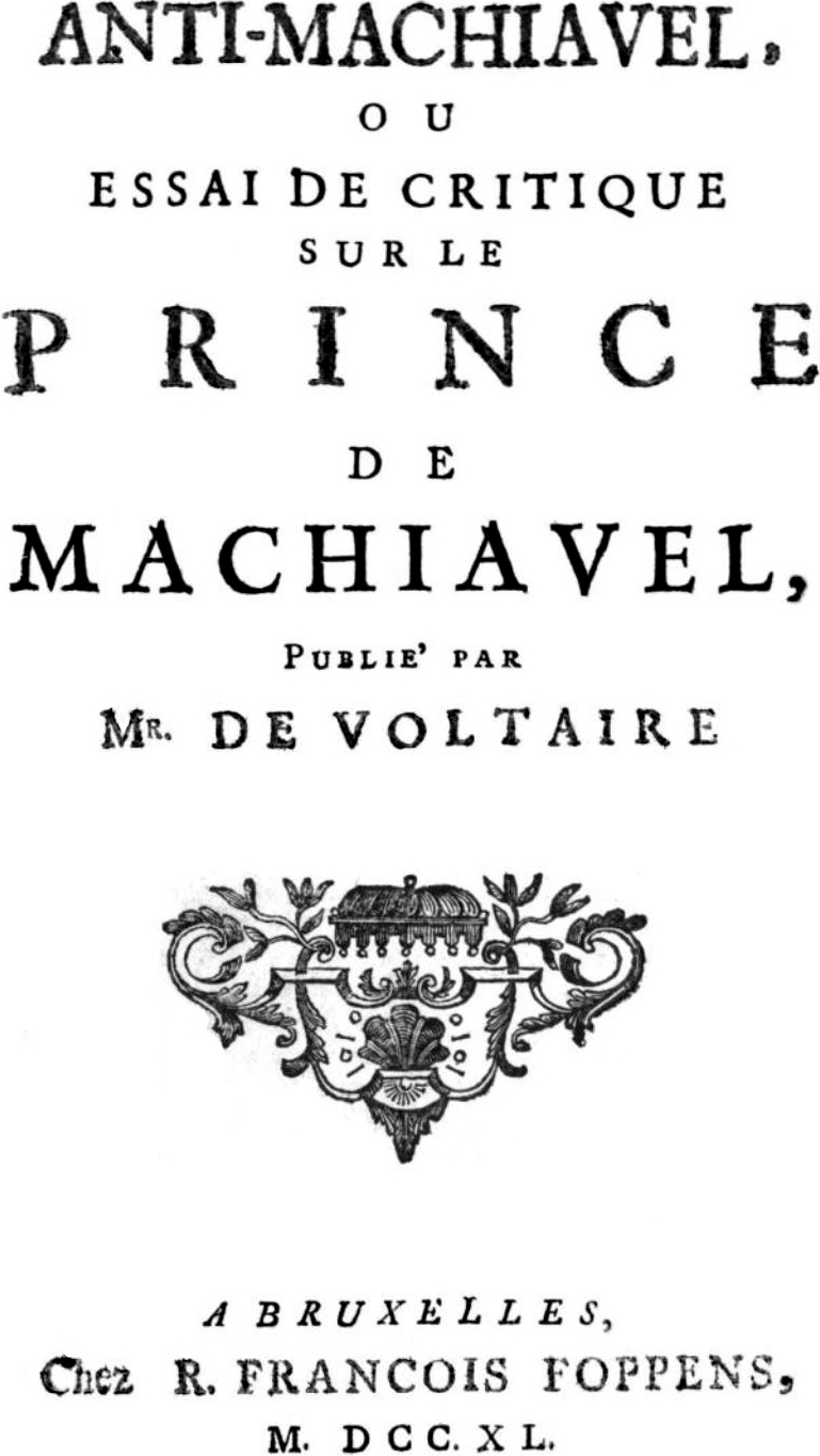 anti machiavelli essay Essays on the nonimportation movement in south carolina,  and machiavelli: a  reappraisal', in: shackleton, essays on montesquieu and on.