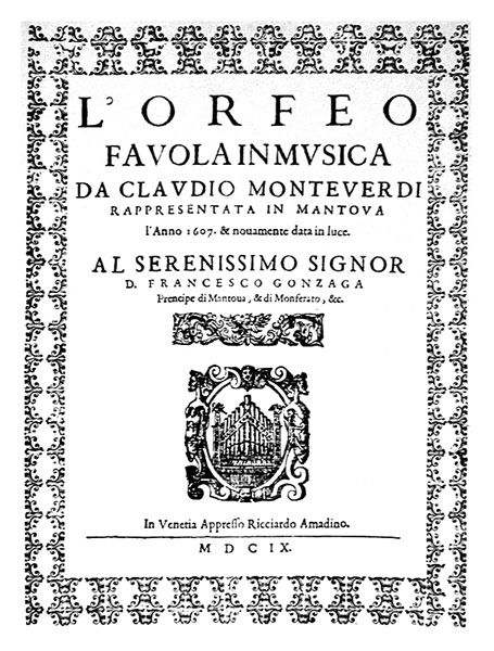 Portada de L'Orfeo de Monteverdi. Imagen de Wikimedia.