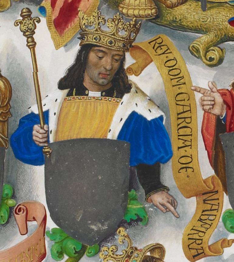 Wikipedia--García III Sánchez representado en la Genealogía de los Reyes de Portugal (hacia 1530).