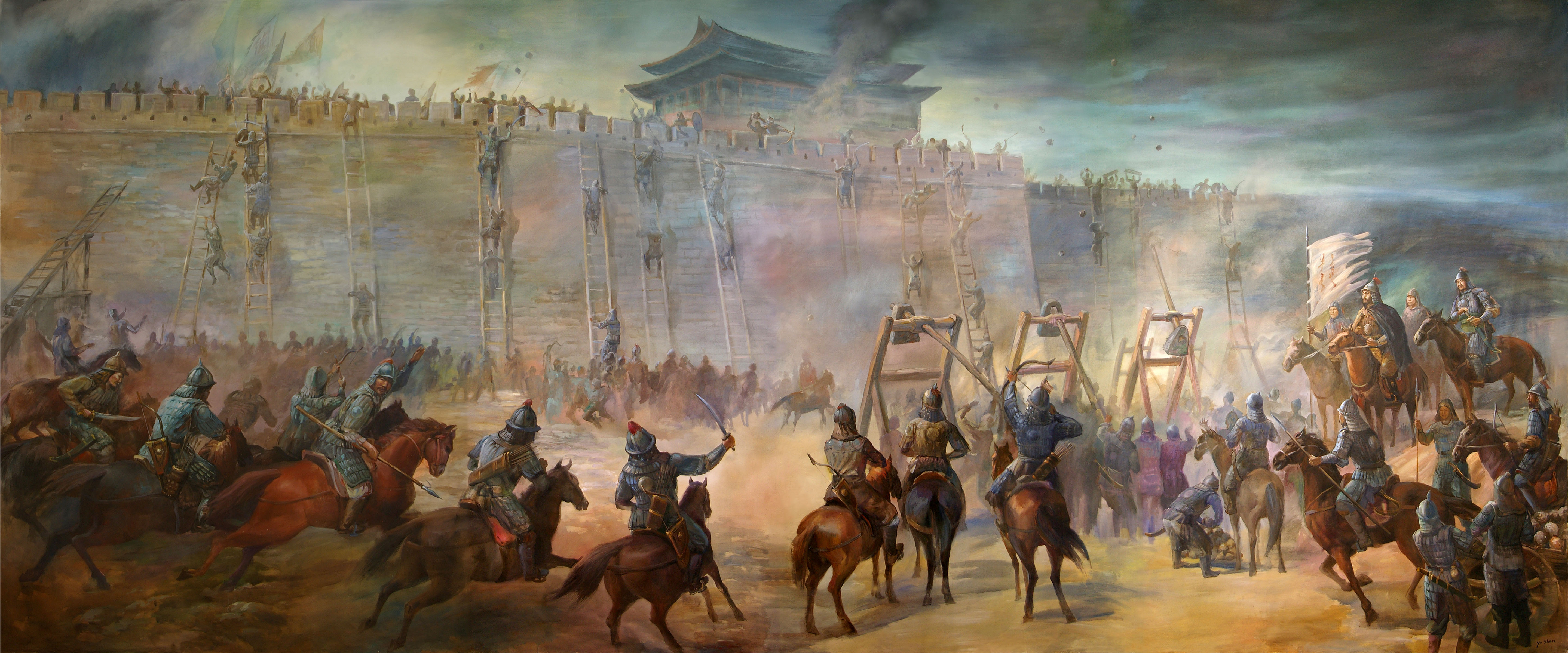 file genghiz khan and his forces laying seige and then attacking a