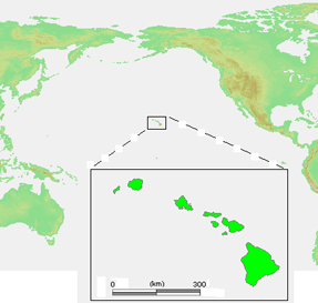Map with Hawaii highlighted