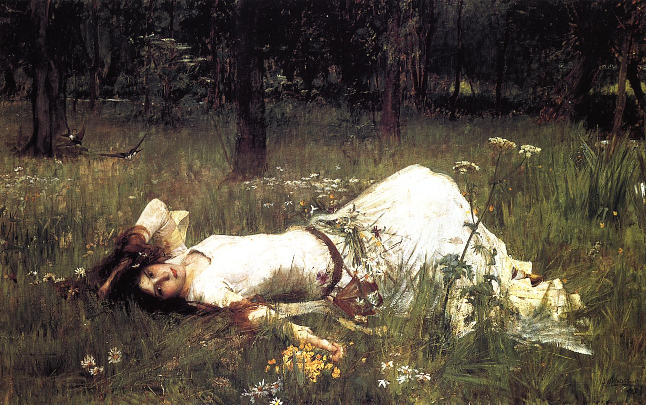 Artwork of recumbent female figure in meadow