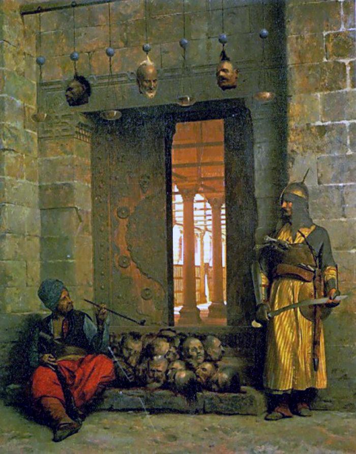 File:Jean-Léon Gérôme, Hasaneyn Camii Önünde İsyankar Beylerin Başları.jpg  - Wikimedia Commons