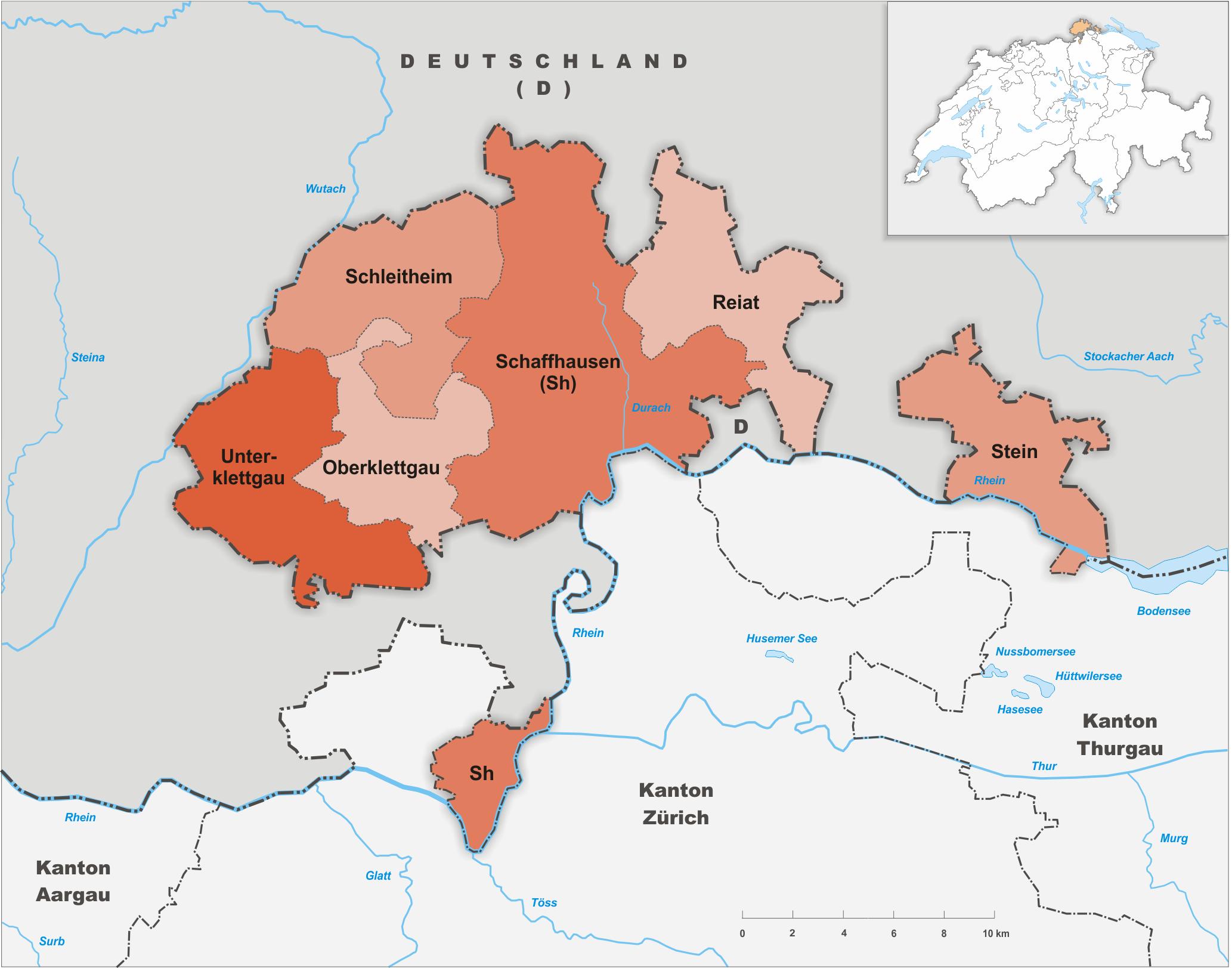 Bezirke des Kantons Schaffhausen