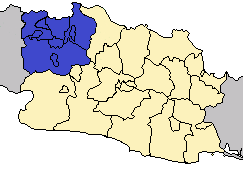 Location of Jabodetabek metropolitan area