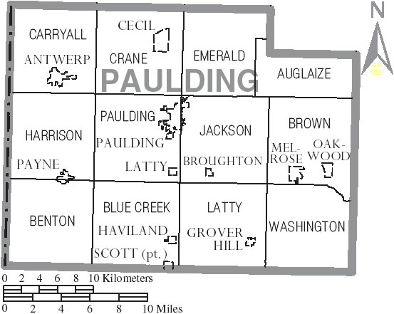 File Map Of Paulding County Ohio With Municipal And Township Labels