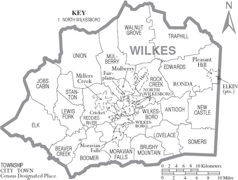 Map of Wilkes County, NC