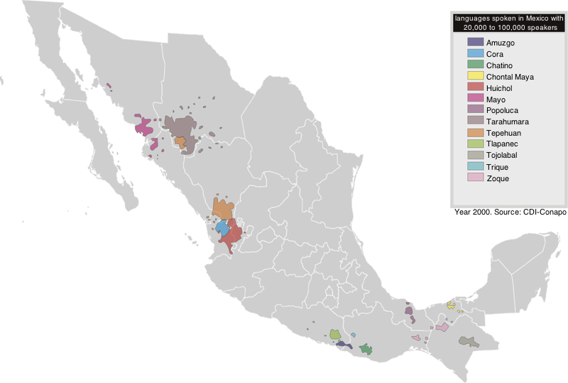 Indigenous groups and languages of Mexico. Displaying groups with more than 20,000 and less than 100,000 speakers of a native language. Map of the languages of Mexico with 20,000 to 100,000 speakers.png