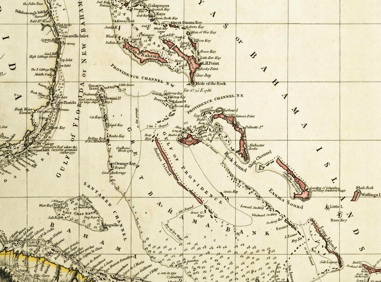 Old Map Of Bermuda And Bahama Islands