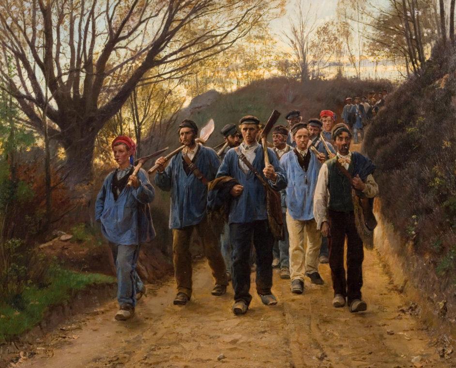 Franske landarbejdere i hulvej