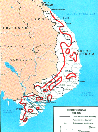 Map of South Vietnam showing cease fire lines