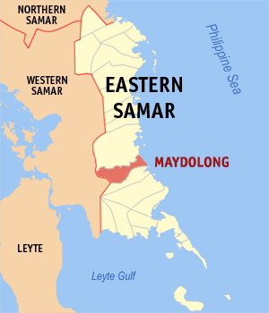 Map of Eastern Samar showing the location of Maydolong