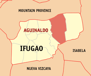 Map of Ifugao showing the location of Aguinaldo