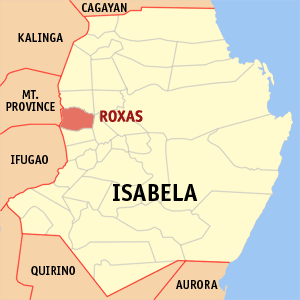Map of Isabela showing the location of Roxas