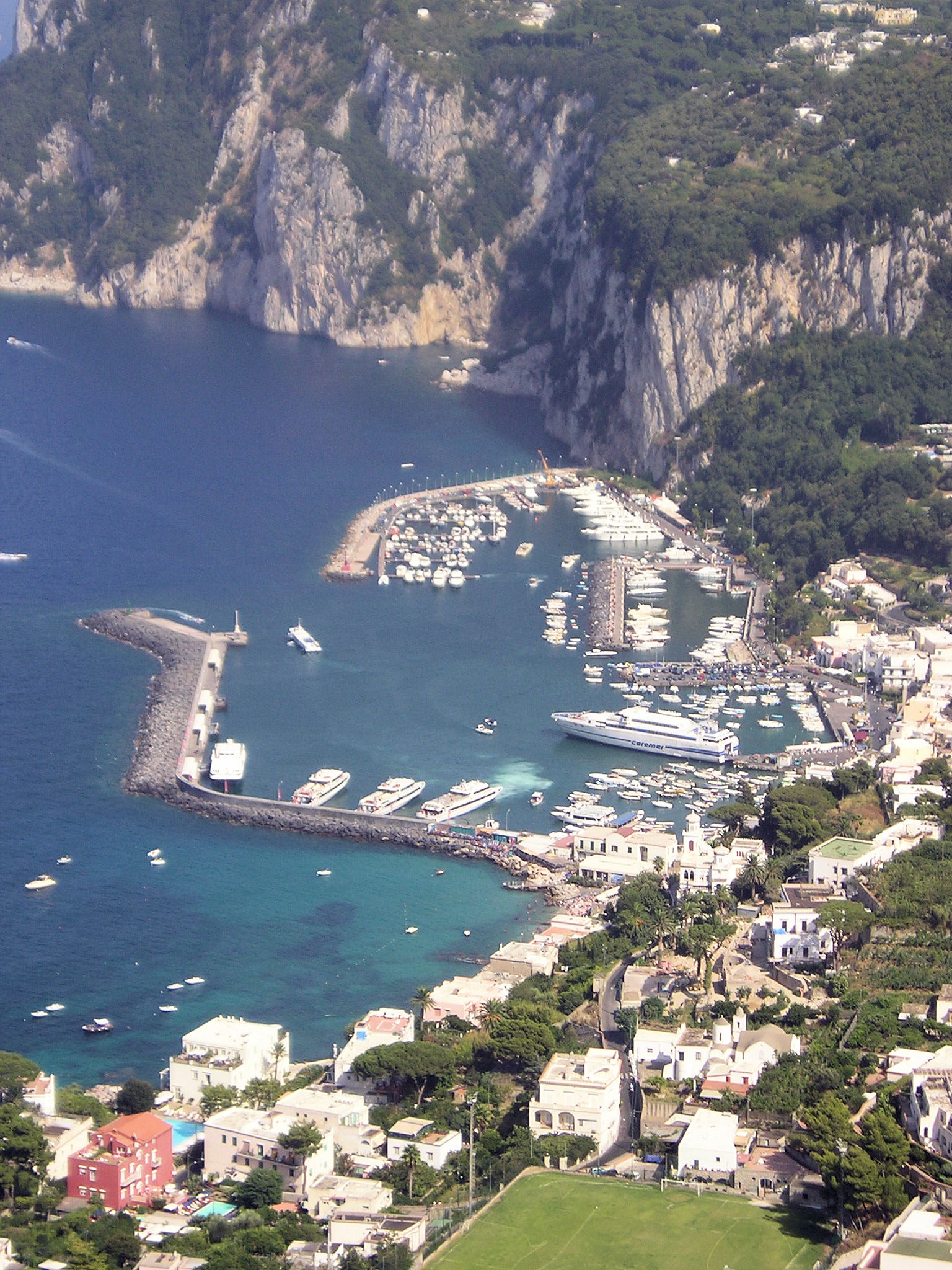Looking down into the harbor of the village of Capri