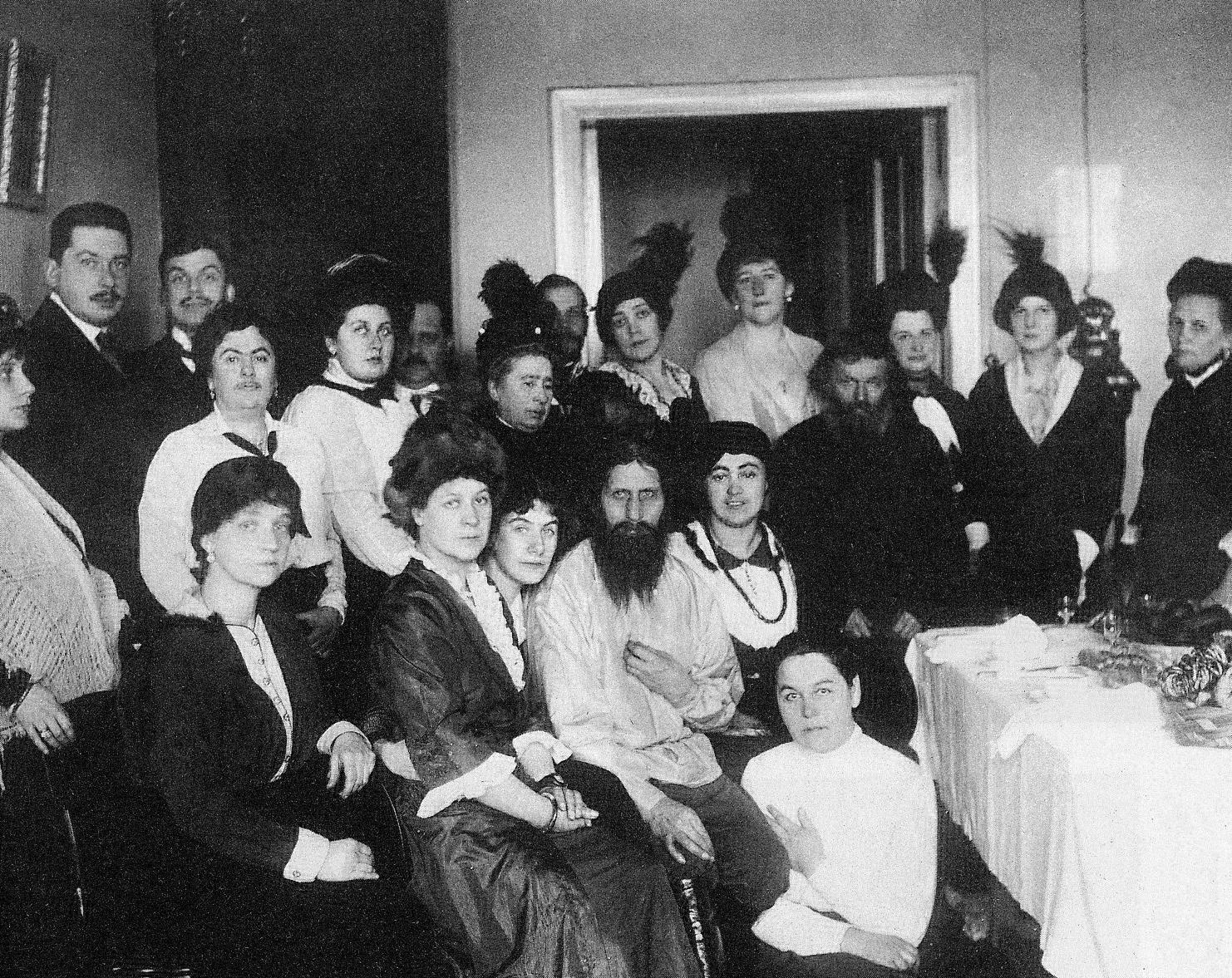 Rasputin among admirers, 1914