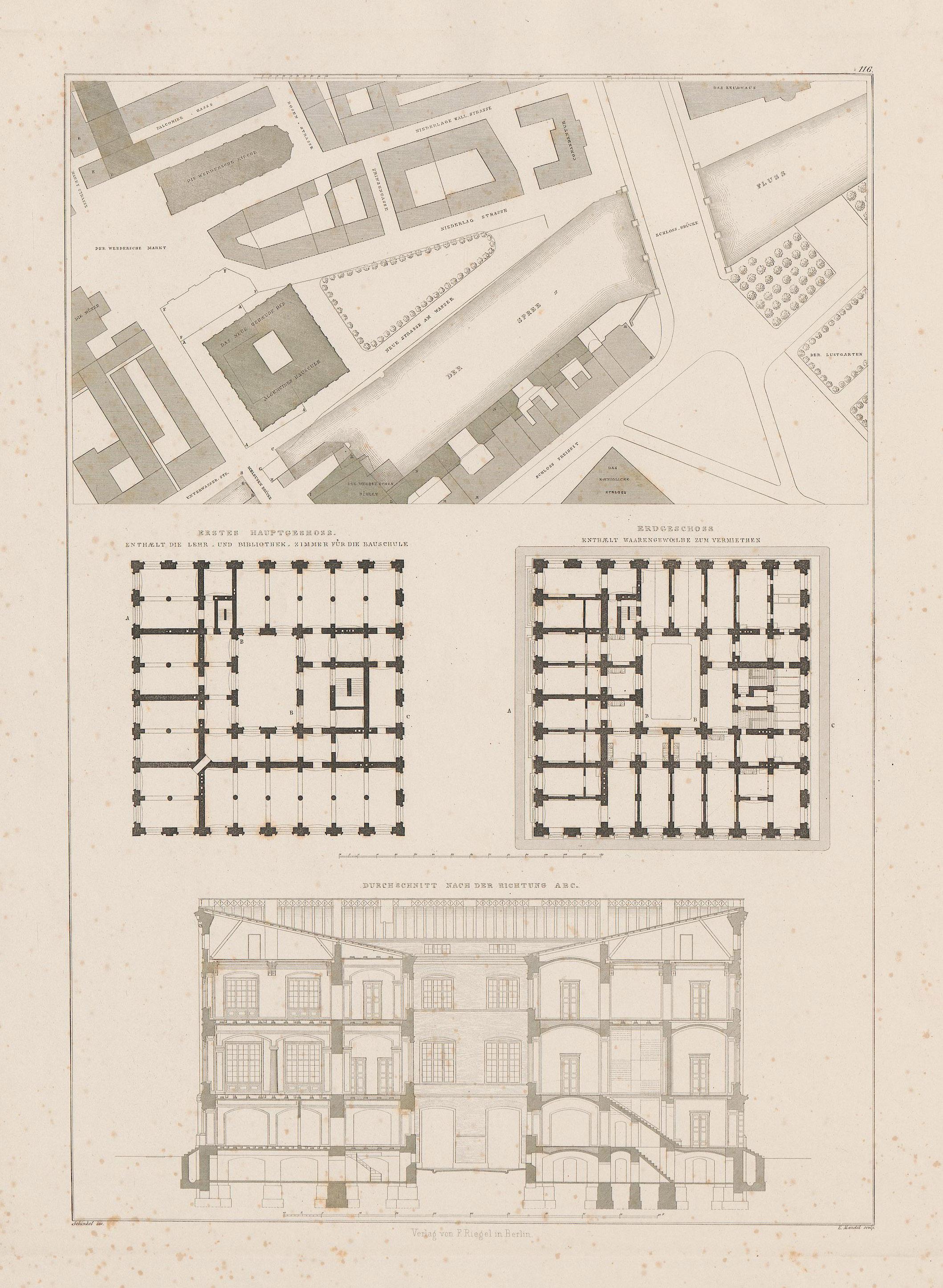 Bauakademie berlin lageplan und grundrisse heft 20 1833 tafel 122