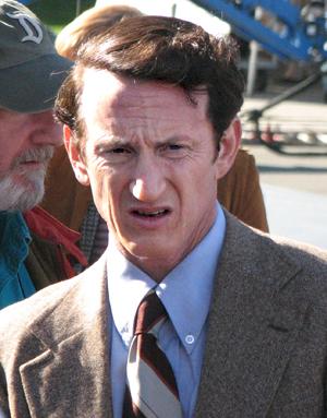 Sean Penn filming Milk in 2008