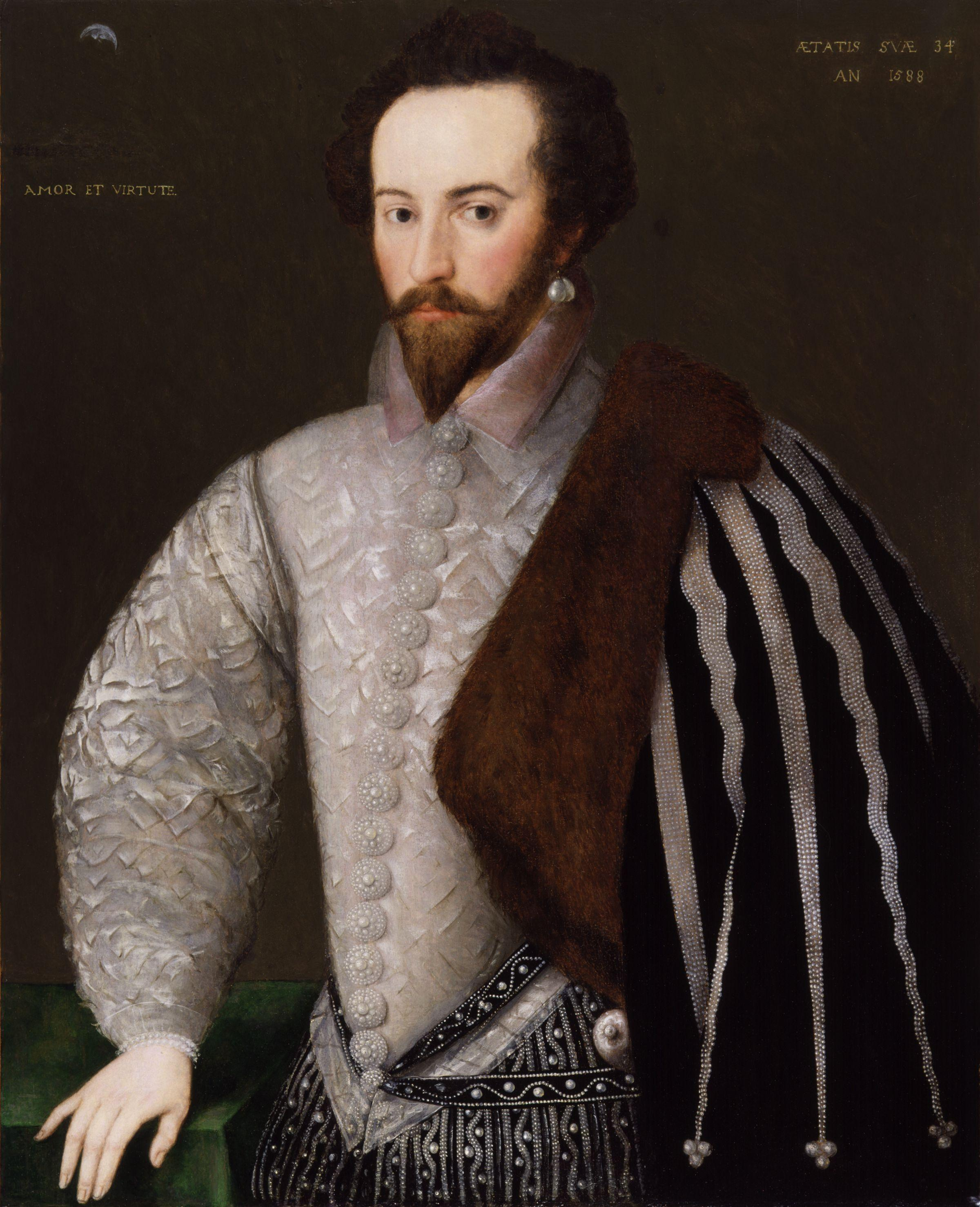 "Portrait of Sir Walter Raleigh inscribed right: ''Aetatis suae 34 An(no) 1588'' (""In the year 1588 of his age 34"") and left: with his motto ''Amor et Virtute'' (""By Love and Virtue""). National Portrait Gallery, London<!-- , NPG 7 -->"
