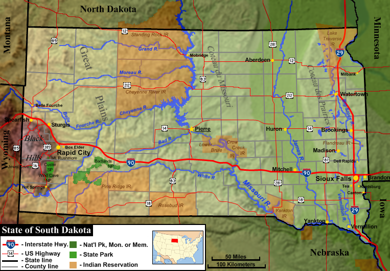 FileSouth Dakota General Map Png Wikimedia Commons - Map of south dakota