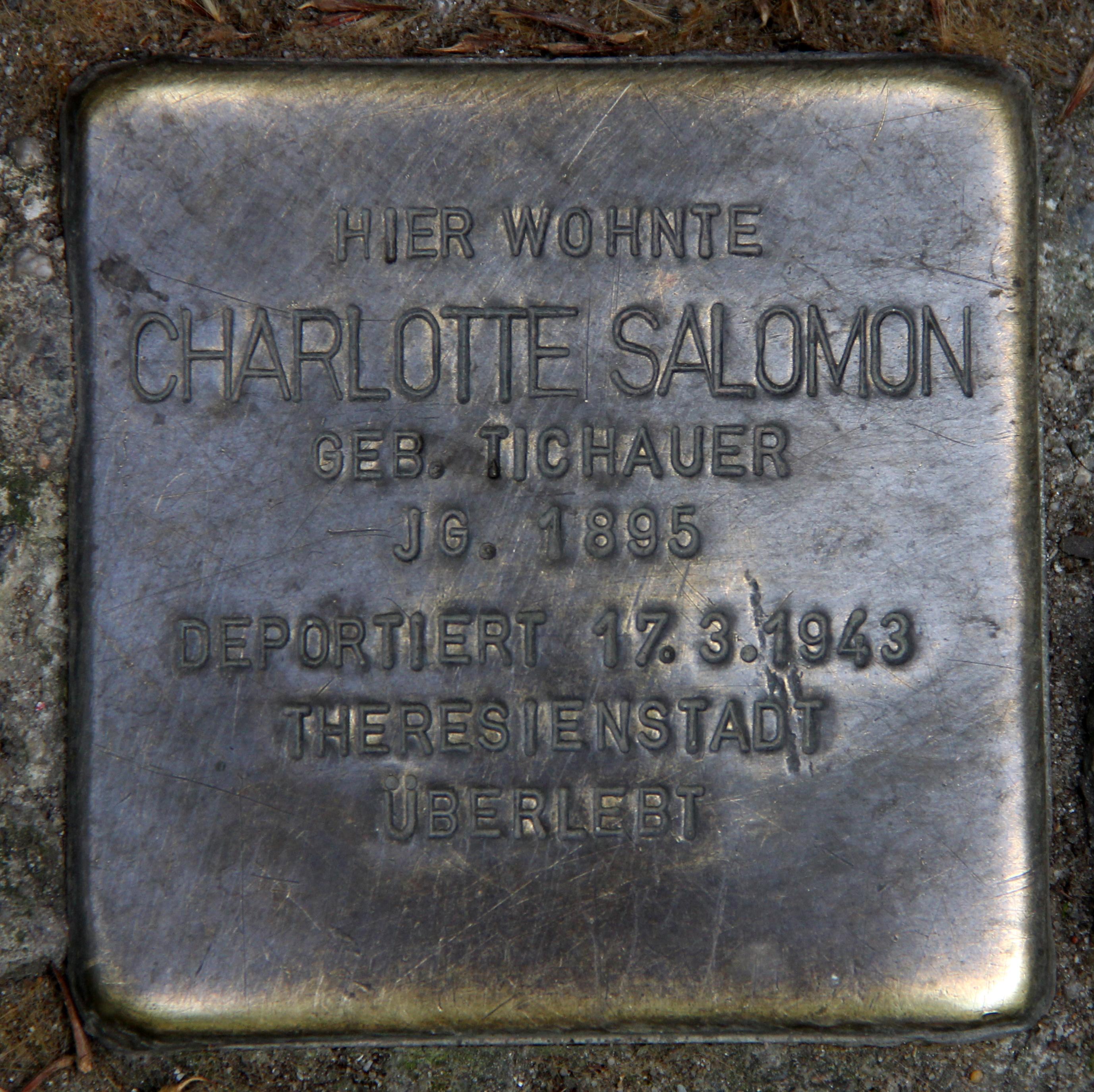 File:Stolperstein Prinzenstr 23 (Kreuz) Charlotte Salomon.jpg - Wikimedia  Commons