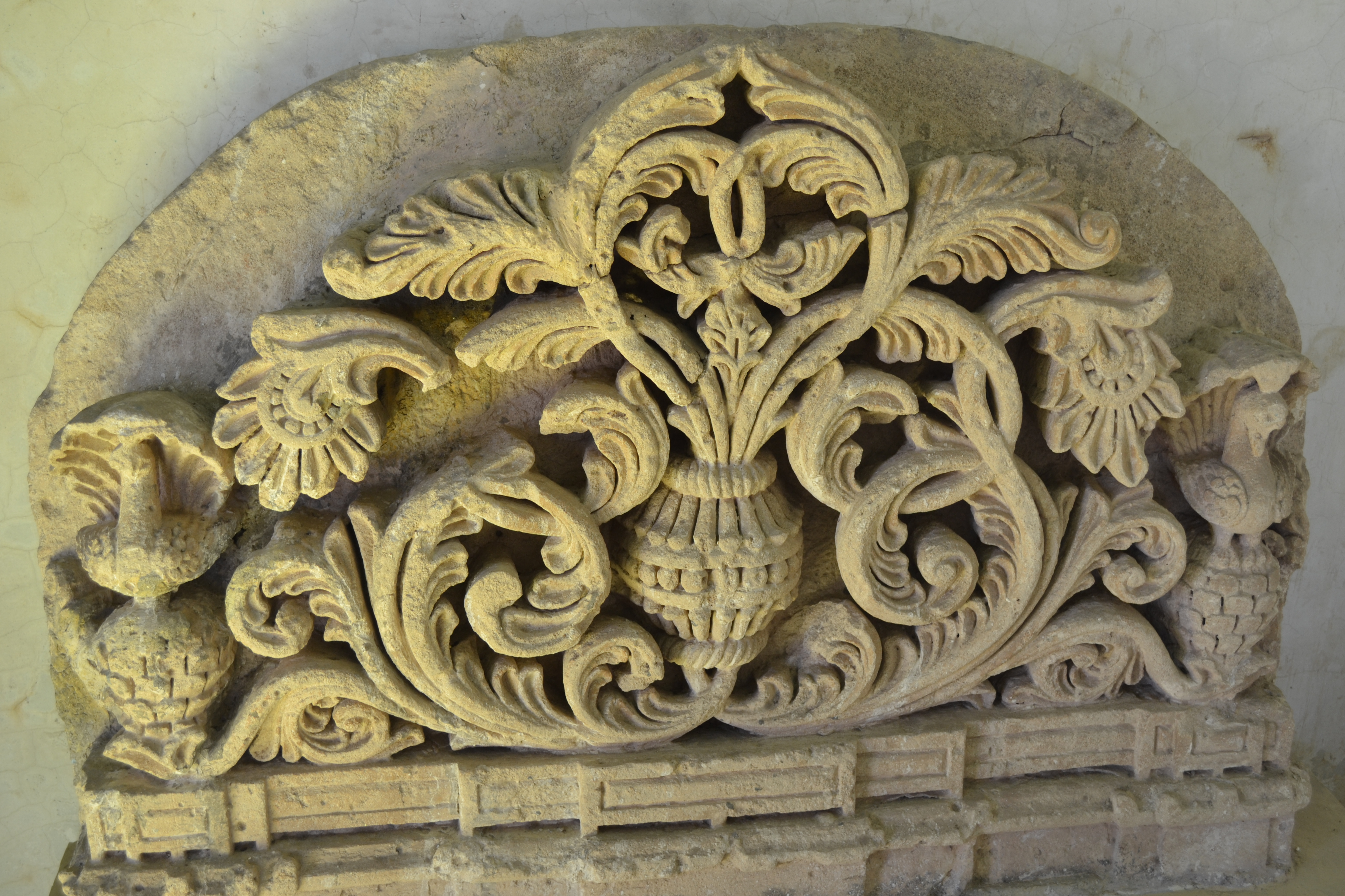 File stone carved with floral design g