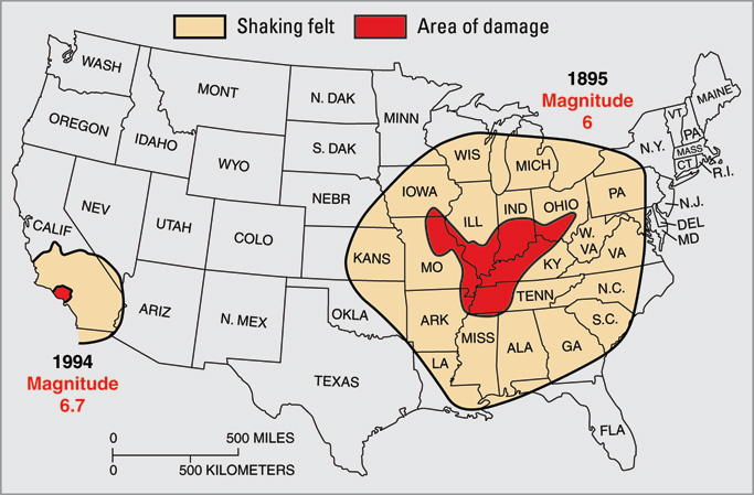 Differences in the crust underlying North America east of the Rocky Mountains makes that area more sensitive to earthquakes. Shown here: the 1895 New Madrid earthquake, M ~6, was felt through most of the central U.S., while the 1994 Northridge quake, though almost ten times stronger at M 6.7, was felt only in southern California. From USGS Fact Sheet 017-03. USGS-FS017-03 madrid.jpg