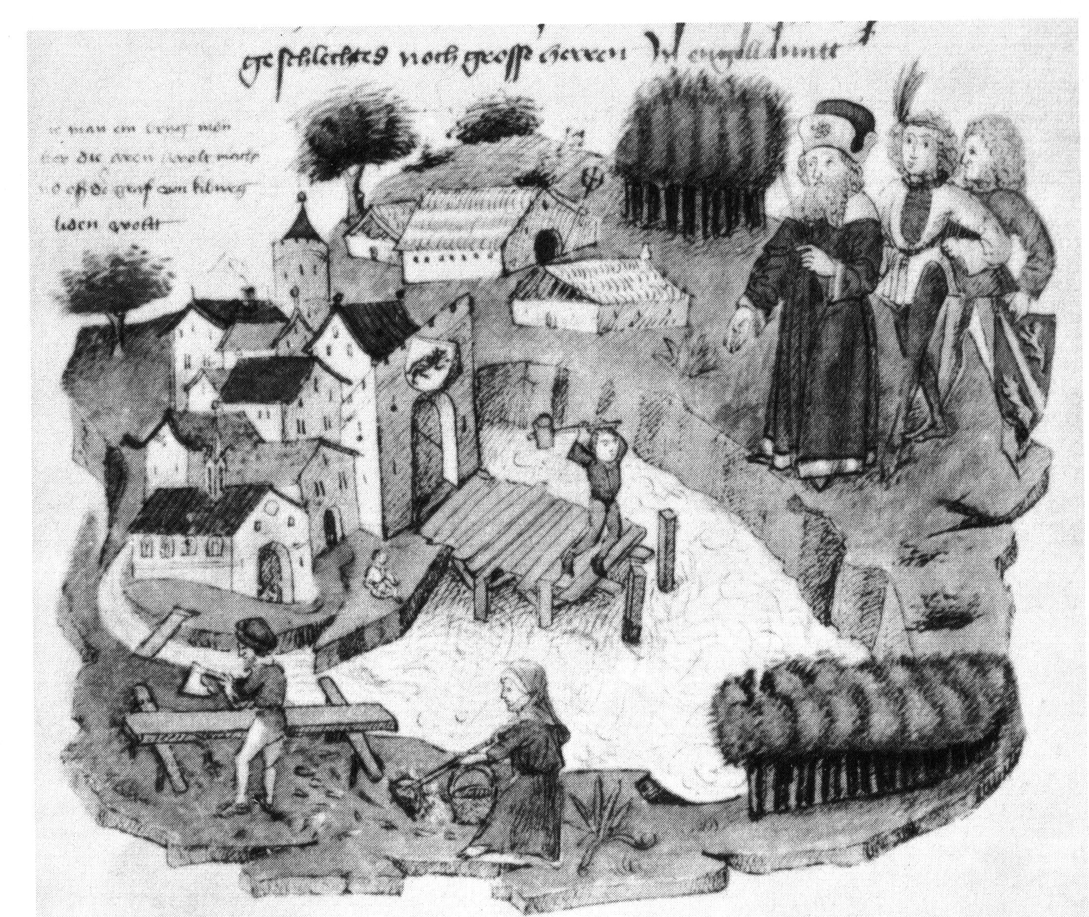 The construction of the Untertor-bridge in Bern, Tschachtlanchronik, late 15th century