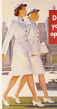 Two WAVES women in summer dress uniforms walking side by side down a city street
