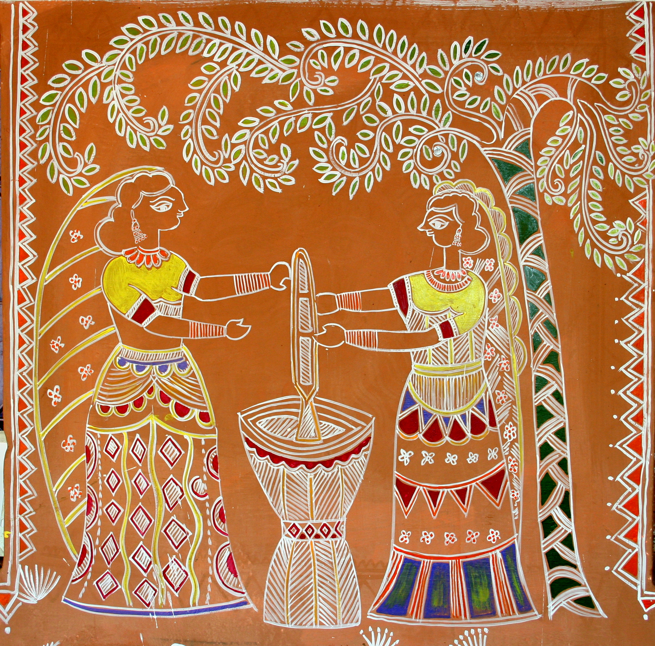 File Women Pounding Grain Traditional Wall Painting By