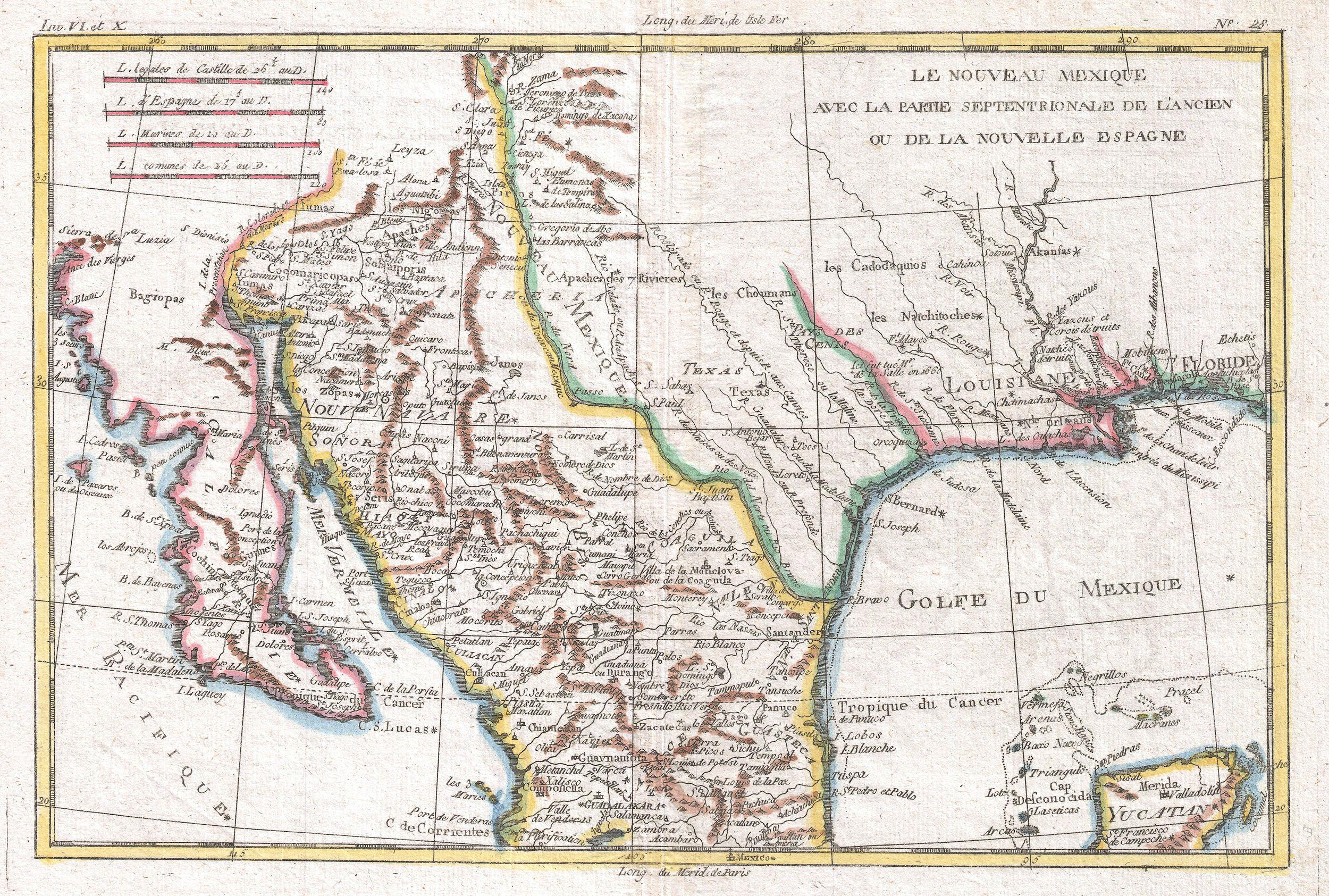File1780 Raynal And Bonne Map Of Mexico And Texas