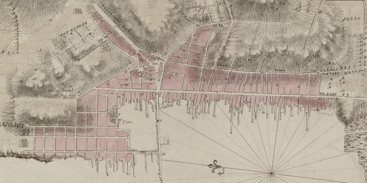 File1781 Newport Rhode Island detail of map byDelamarche BPL 12306